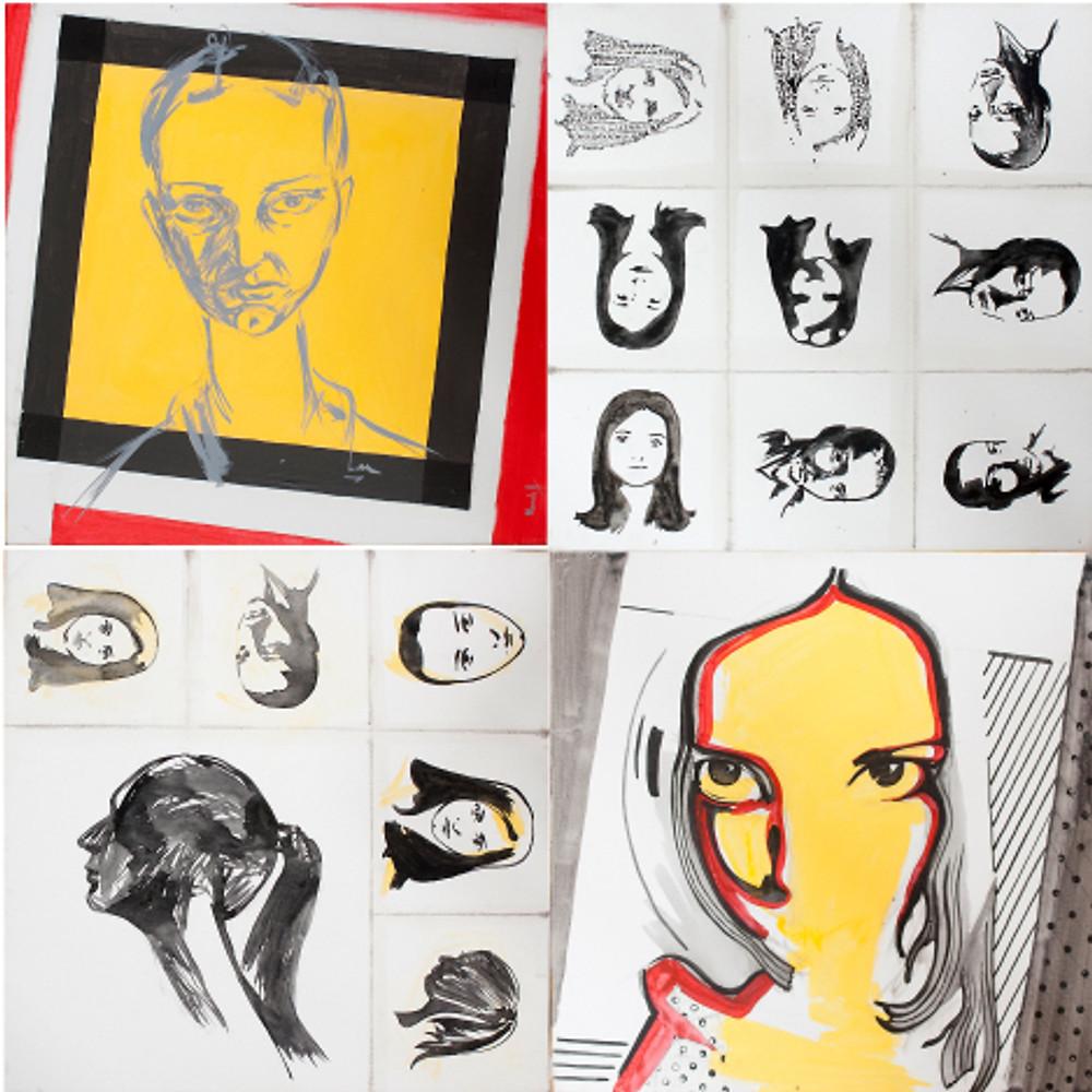 """Alina Manole-""""Autoportrete""""-120/120 cm, acrilic pe panza"""