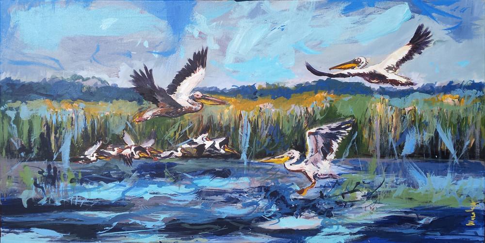 Pelicani la Cuibul cu lebede_ acrilic pe panza 90 pe 40 cm autor Alina Manole_