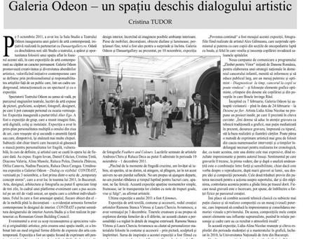 """""""Galeria Odeon, un spatiu deschis dialogului artistic"""" –  supliment Observatorul C"""