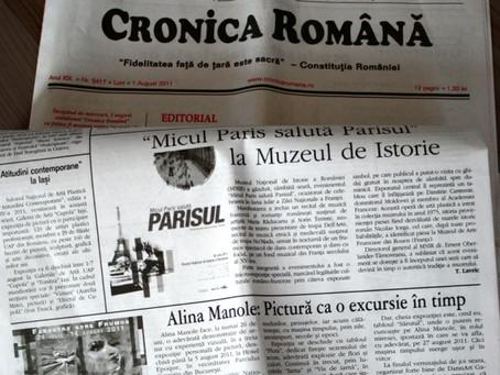 Alina Manole: Pictura ca o excursie in timp_ articol aparut in Cronica Romana