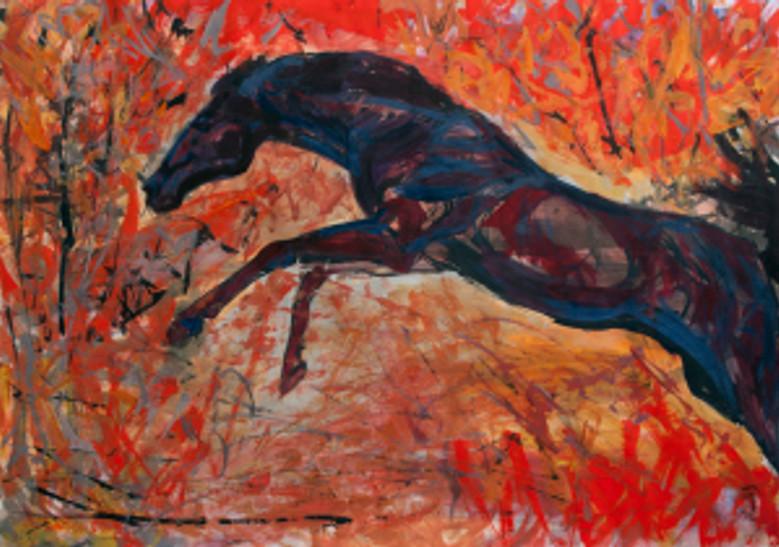 """""""cal in padure toamna"""" tehnica: tempera pe carton dimensiune: 50 pe 70 cm autor alina manole"""