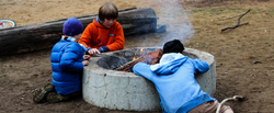 camp nature play boys fire