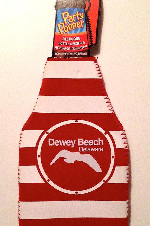 Bottle Koozie Red Seagull Stripe