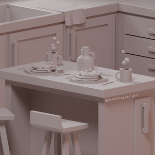 Low poly kitchen - clay details