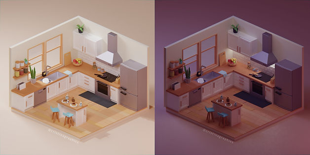 Low Poly Kitchen_Postprocessing - Night