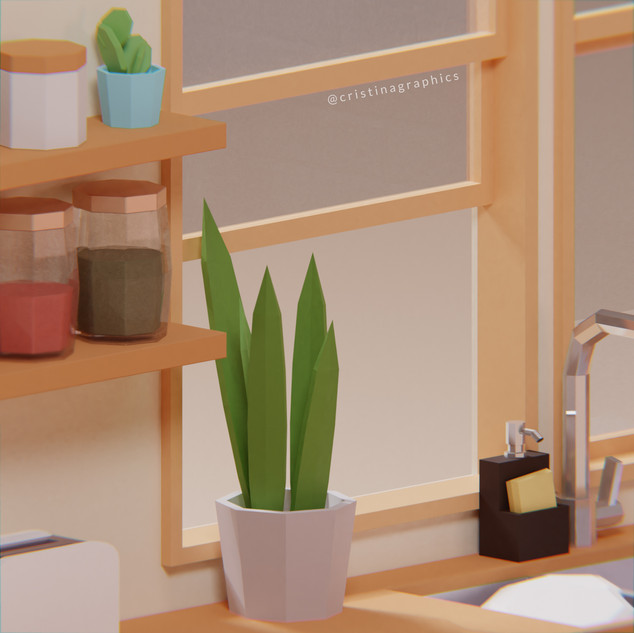 Low poly kitchen - plant
