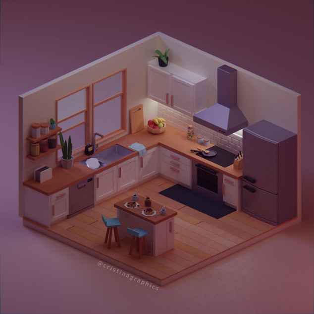 Low poly kitchen - night