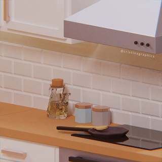 Low poly kitchen - details