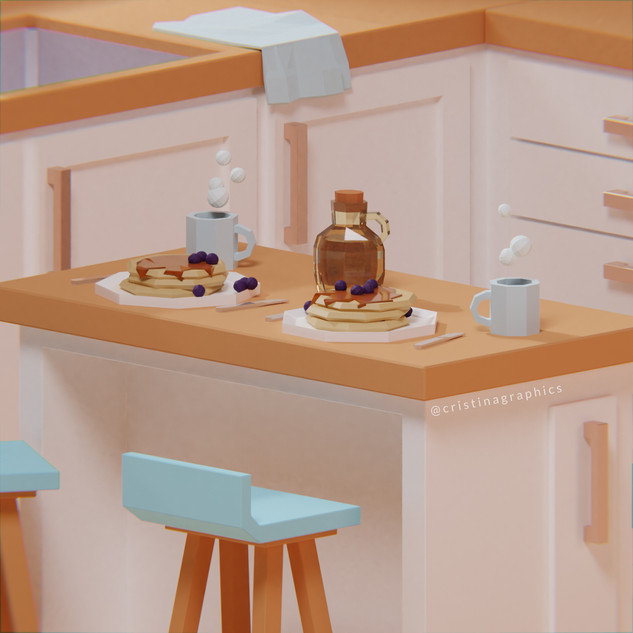 Low poly kitchen - breakfast