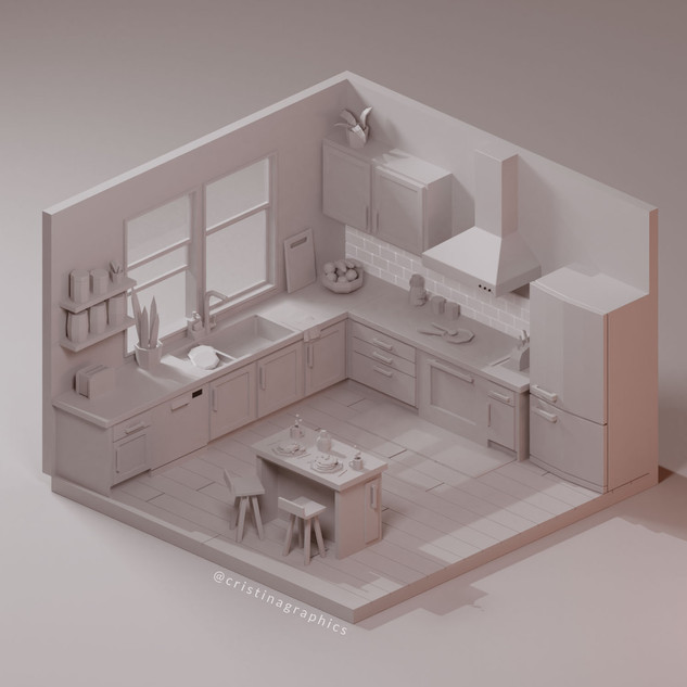 Low poly kitchen - clay render