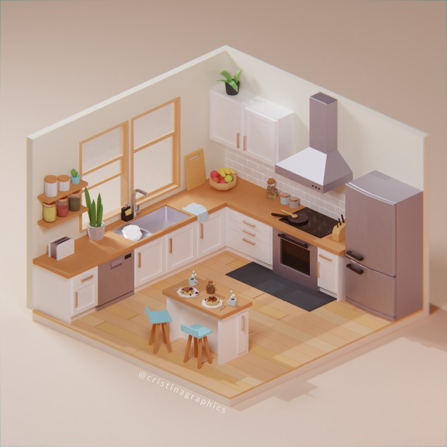 Low poly kitchen - day