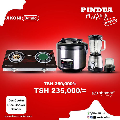 Jikoni Bando with Gas Cooker, Blender & Rice cooker