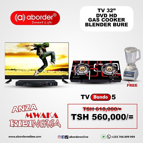 TV Bando 5 (TV inch 32 with sound bar, DVD Player, Gas Cooker with free Blender