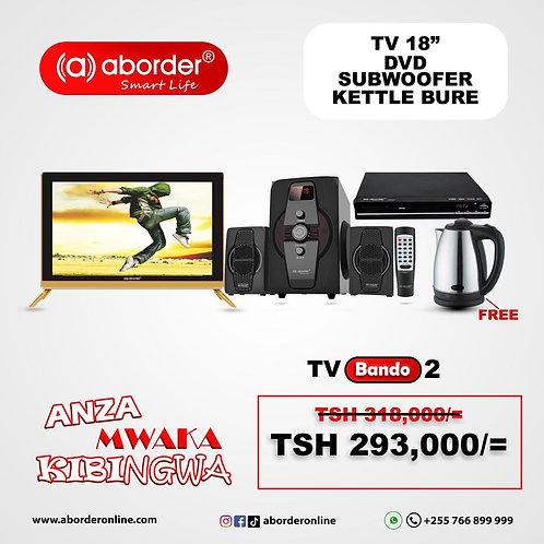 TV Bando 2 (TV inch 18, Subwoofer, DVD player & Free kettle