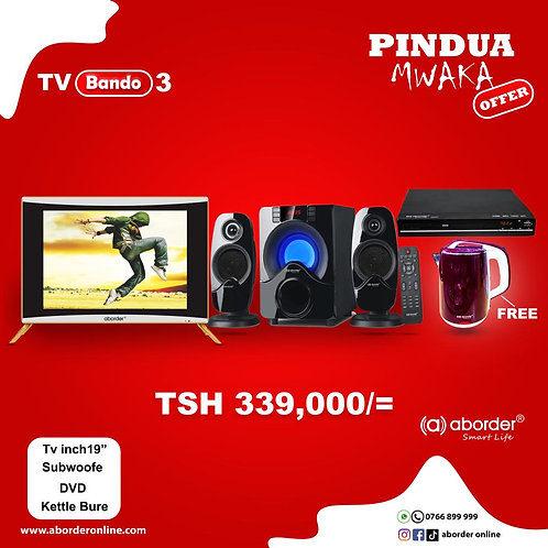 TV Bando 3 (TV inch 19, Subwoofer, DVD player & Free kettle