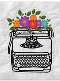 Typewriter in Bloom Kiss Cut Sticker