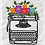 Thumbnail: Typewriter in Bloom Kiss Cut Sticker