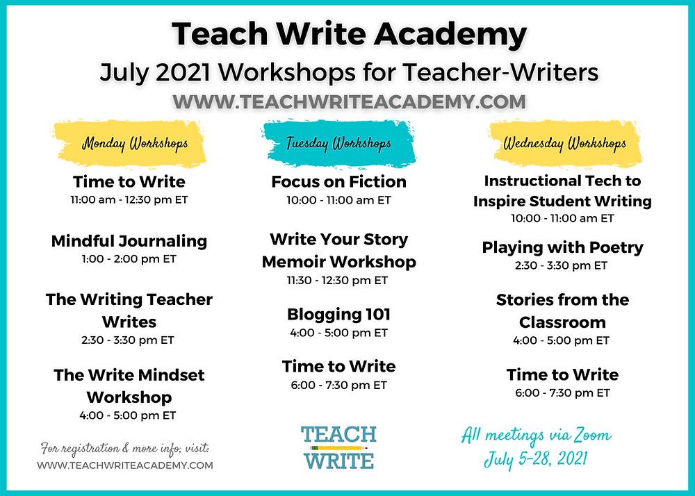 Image of course schedule for the Teach Write Academy in July 2021