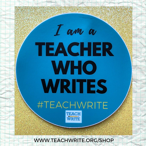 "Teacher Who Writes  3"" Round Sticker"