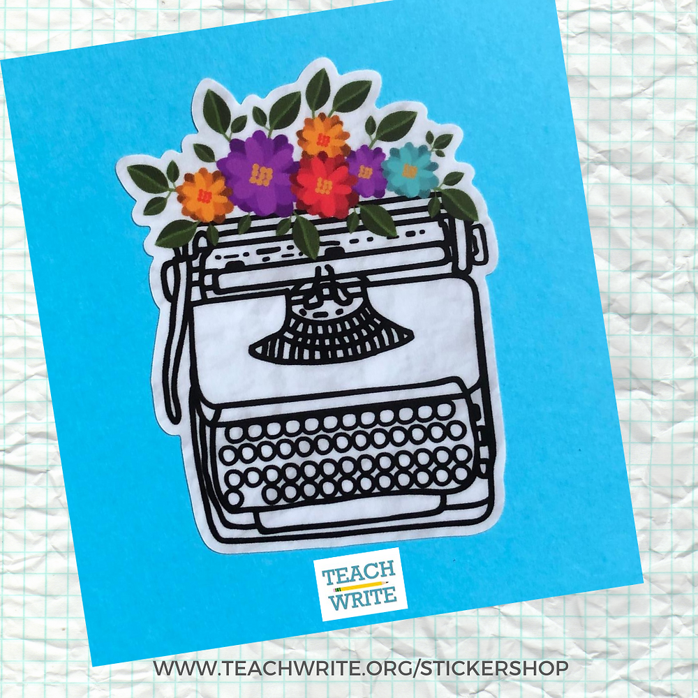 Image of a hand drawn typewriter with colorful flowers at the top. Image is a sticker that is for sale in the Teach Write Sticker Shop.