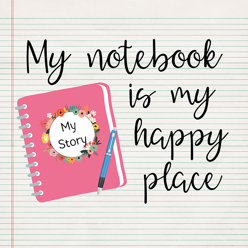 Notebook Happy Place  Kiss Cut Sticker