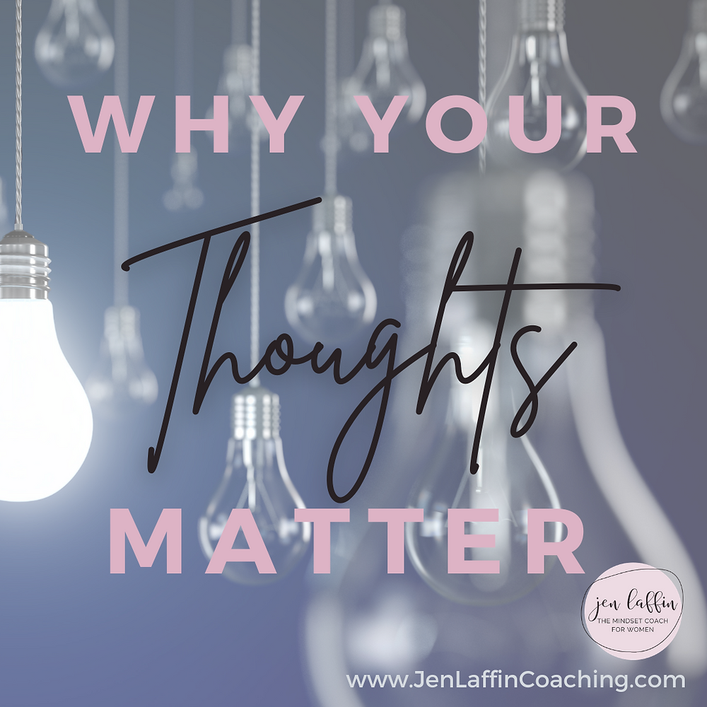 Post title image: Why your thoughts matter. Background is hanging light bulbs with one bulb lit and the others dark.