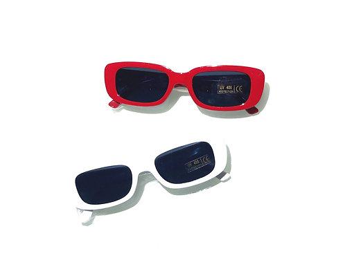 Óculos retângulo - Vermelho ou Branco