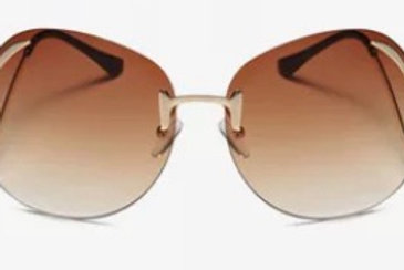 Rimless Bend Leg Sunglasses (Brown)