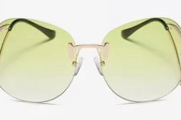 Rimless Bend Leg Sunglasses (Light Green)