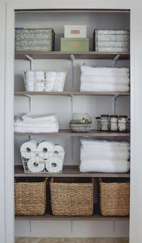 .Decorated Linen Closet.