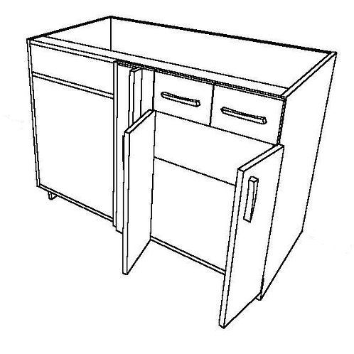 2 False Drawers, No Shelf, 2 Swing Doors Corner Base Cabinet