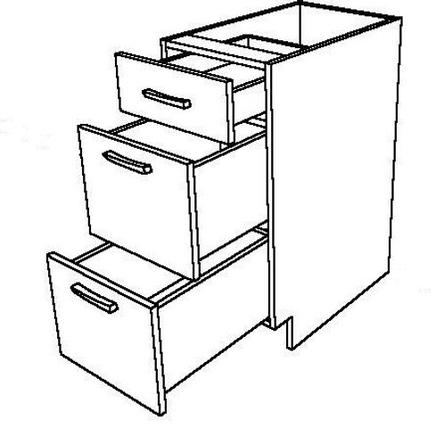 """3 Drawers Base Cabinet - 15"""" W x 34 1/2"""" H"""