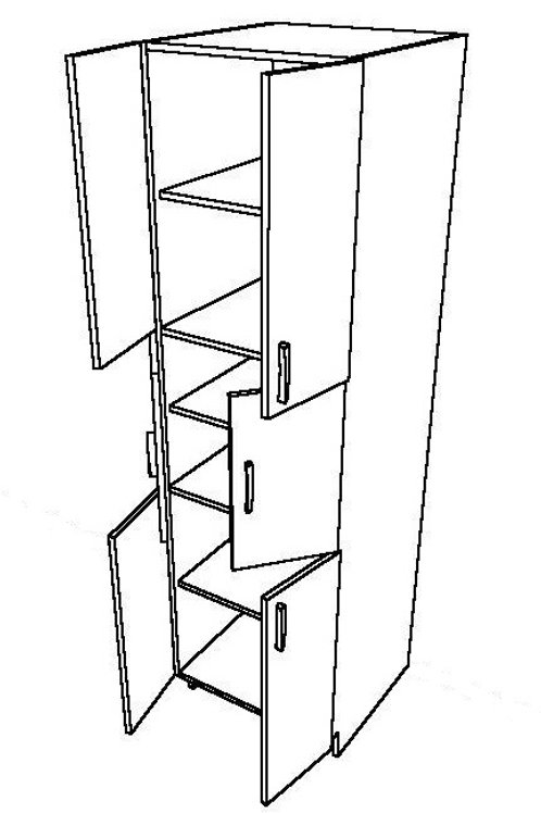 2 Swing Doors, 3 Pieces Rotary Tall Unit