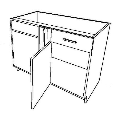 1 False Drawer, No Shelf, 1 Swing Door Corner Base Cabinet
