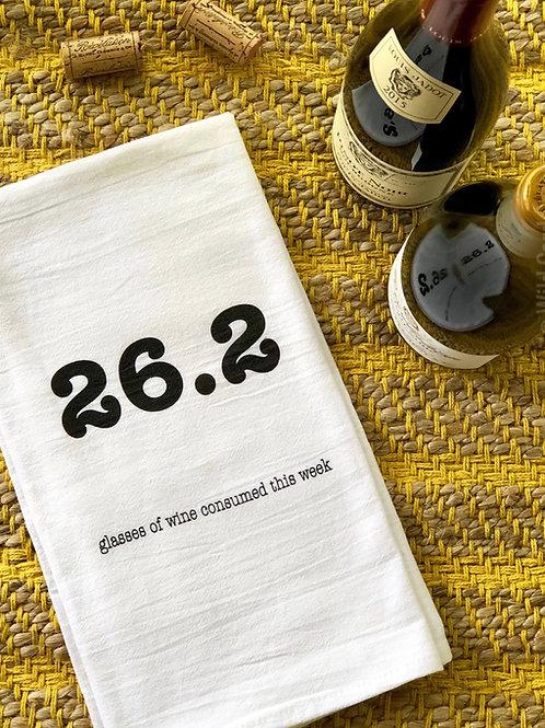26.2 Glasses of Wine Tea Towel