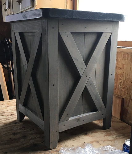 Amish Barn Door Storage End Table