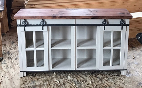 "Amish 55"" Sliding Glass Door Console-55"" & 6', 2 Depths"