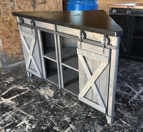 Amish Corner Sliding Barn Door Console