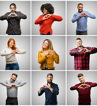 Group of mixed people, women and men happy showing love with hands in heart shape expressi