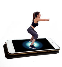future trainer applicaton on mobile phone 3d girl on the phone screen.jpg