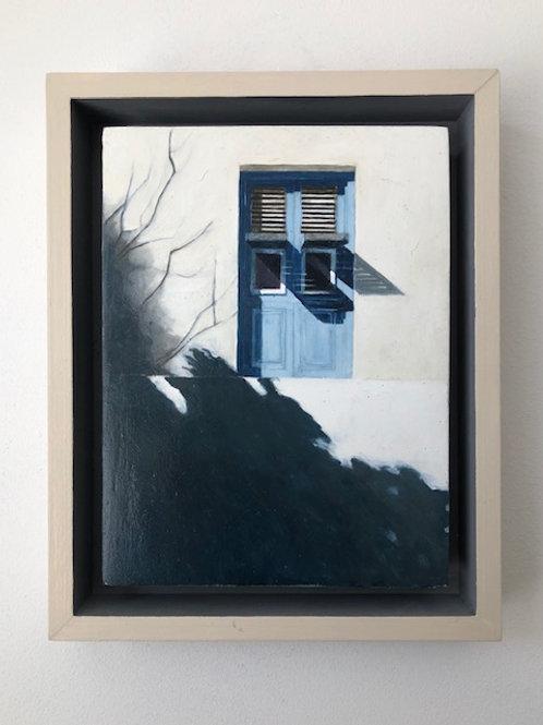 'Shutter Light'  oil on wood. 30x24cm. Spacer framed.