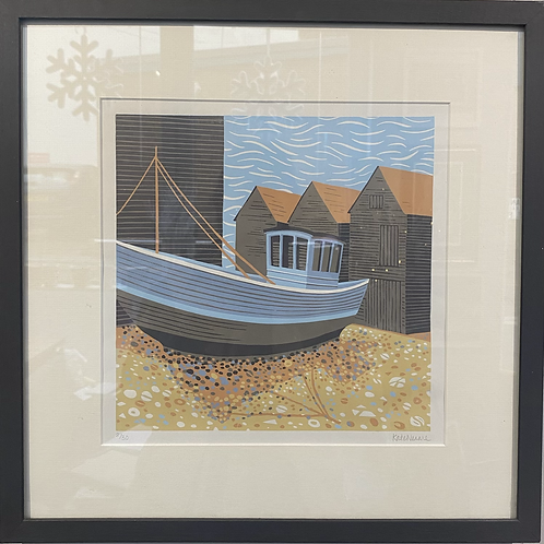 Fishing Boat and Huts by Kate Neame