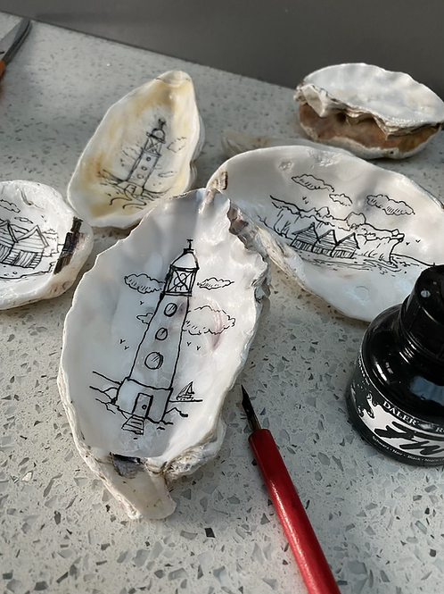 Decorated Oyster Shell