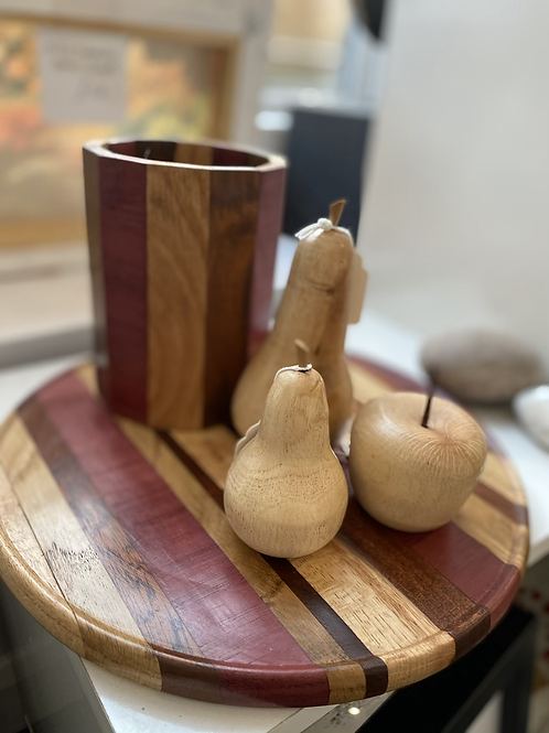Hand made turned wood cheeseboard and wine holder