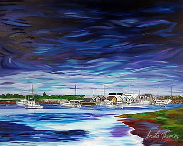 Anita Thomas acrylic painting of Graham Pond in Prince Edward Island.