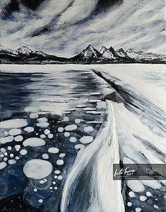 Anita Thomas encaustic painting of Abraham Lake.