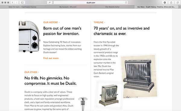 Dualit website copy