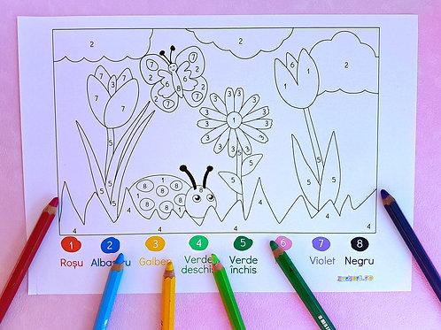 Pagină de colorat cu flori