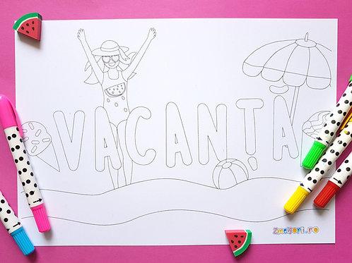 Pagină de colorat de vacanță