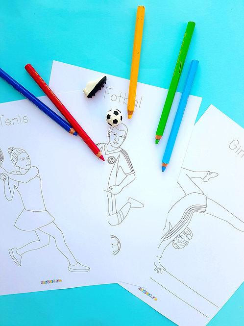 Pagini de colorat cu sporturi